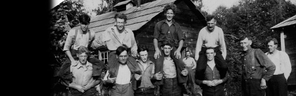 Logging crew in front of the cookhouse at Stag Bay, Hernando Island, ca. 1918