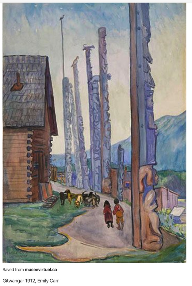 The village of Gitwangar as painted by Emily Carr in 1912